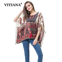 VITIANA Women Tassels Casual T Shirt Female Summer Batwing Sleeve Loose Boho Elegant Printing Fashion Maxi