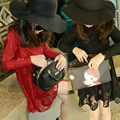Hot Autumn Girls Lace Princess Dress Girls Kids Clothing Red Black Flowers