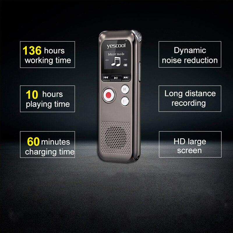 Yescool recharge rapide 8 GB Microphone bidirectionnel professionnel enregistreur vocal numérique Dictaphone espia enregistreur audio lecteur MP3 - 5