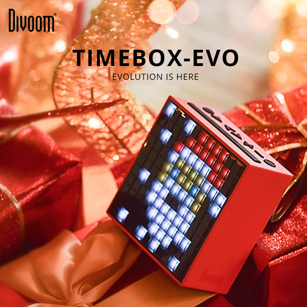 Divoom Pixel Timebox Evo Art Speaker Portable Speaker Wireless Bluetooth LED Screen Alarm Clock With App For IOS Android System image