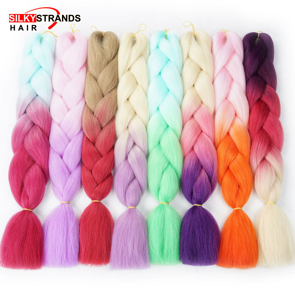 Silky Strands Ombre Braiding Hair Extensions 24inch 100g Synthetic Crochet Jumbo Braids Hairstyles Gray Burgundy Pink
