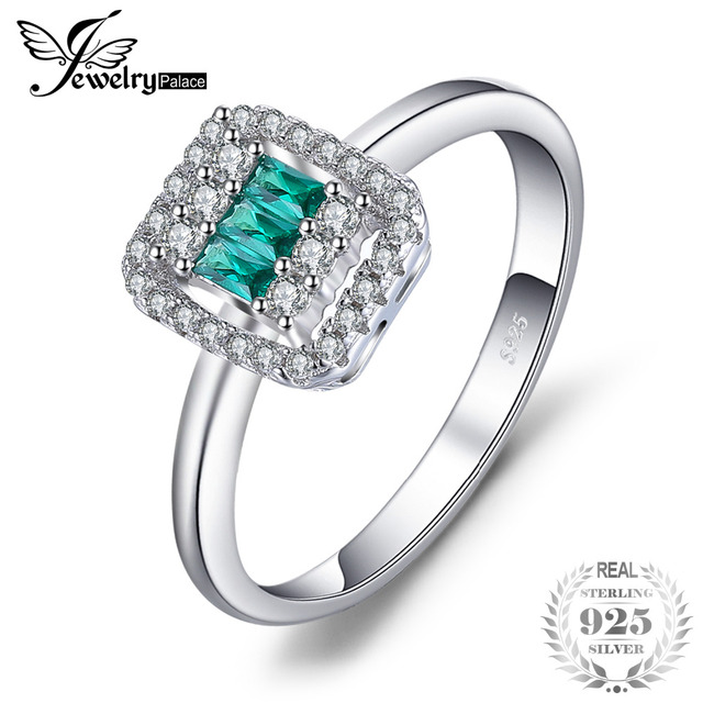 JewelryPalace Luxury 3.6ct Simulated Green Nano Russian Emerald Halo Engagement Ring 925 Sterling Silver VEuWXx