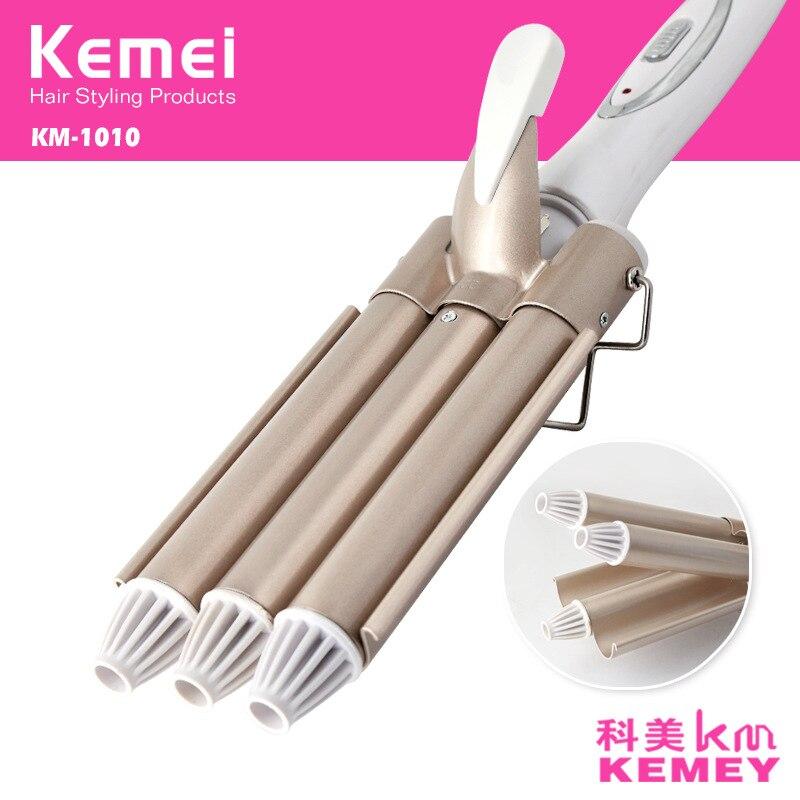 Kemei Professionnel 110-220 v Cheveux Fer À Friser En Céramique Triple Barrel Cheveux Bigoudi Cheveux Waver Outils de Coiffage Des Cheveux Styler