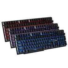 FASTDISK Russian / English 3 Color Backlight Gaming Keyboard Teclado Gamer Floating LED Backlit USB Similar Mechanical Feel