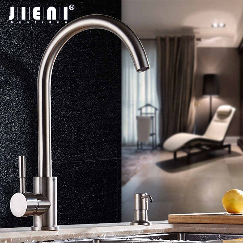 JIENI Swivel Nickel Brush Stream Rotated Spray Kitchen Faucet Stainless Steel Deck Mount One Hole / Handle Mixer Tap Mixer Taps все цены
