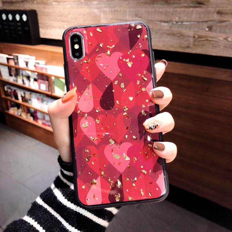 For Samsung Galaxy S10 M20 Case Retro Cute Love Heart Gold Foil Bling Glitter Case For Galaxy S10 Plus M10 Soft Silicone Cover in Fitted Cases from Cellphones Telecommunications