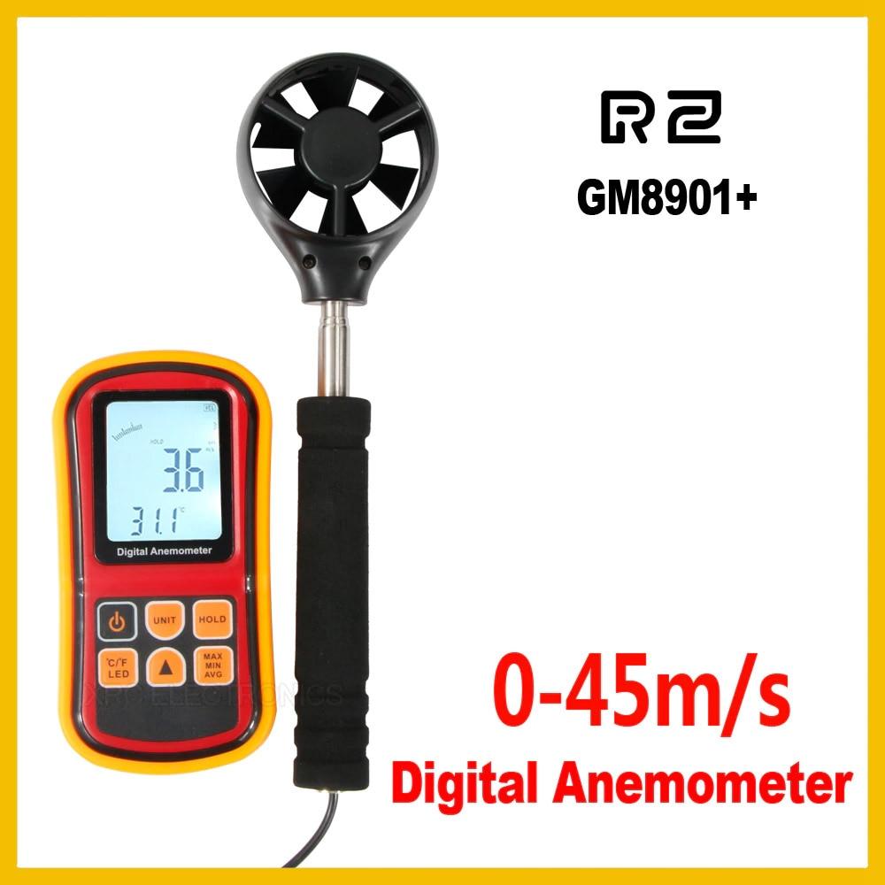 GM8901 Air Flow Anemometer instrument Wind Speed Gauge Temperature LCD Display Measure Digital 45 m s