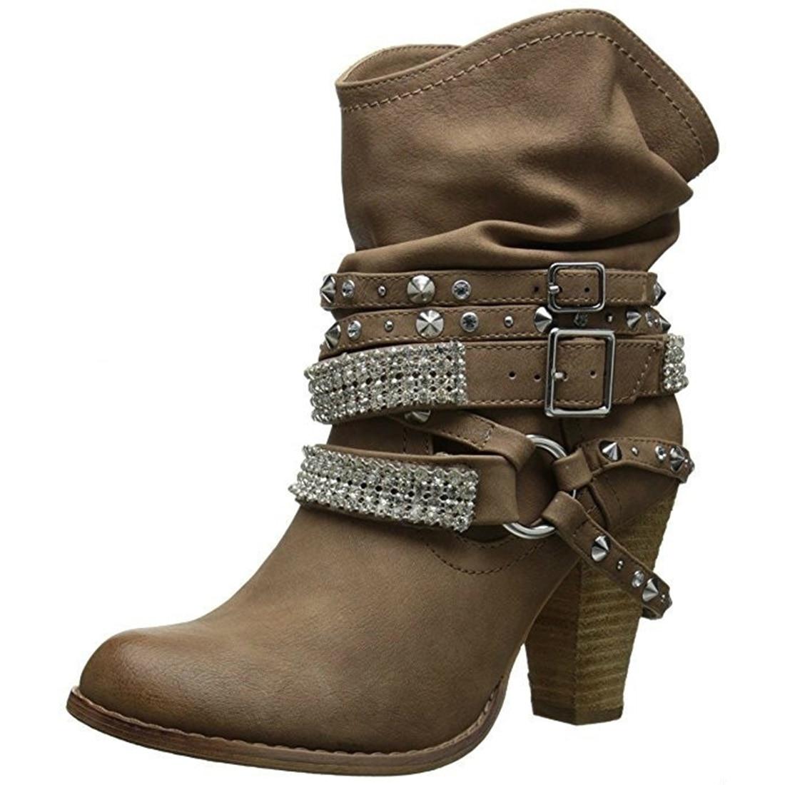 2018 Autumn Winter Shoes women Punk style high heel Boots rivet belt Buckle snow boots PU leather retro mid-calf boots plus size whitesun plus size boots women martin boots autumn winter shoes female ankle boots buckle retro style chunky heel short boots