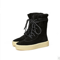 Branded Fashion Coconut Shoes Genuine Leather Lace Up Booties Thick Flat Bottom Muffin Martin Boots