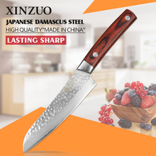 XINZUO 5″ inch China chef knife 67 layers Japanese Damascus Steel kitchen knife santoku knife color wood handle free shipping