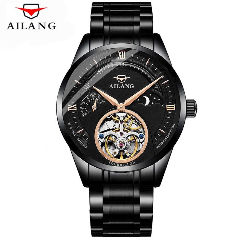 AILANG 2019 horloge hommes montres Top marque de luxe en acier 316L Tourbillon automatique mécanique montre hommes squelette Relogio Masculino