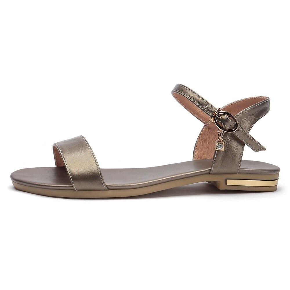 HTB122qJoYGYBuNjy0Foq6AiBFXaZ MORAZORA Plus size 34-46 New genuine leather sandals women shoes fashion flat sandals cow leather summer rhinestone ladies shoes