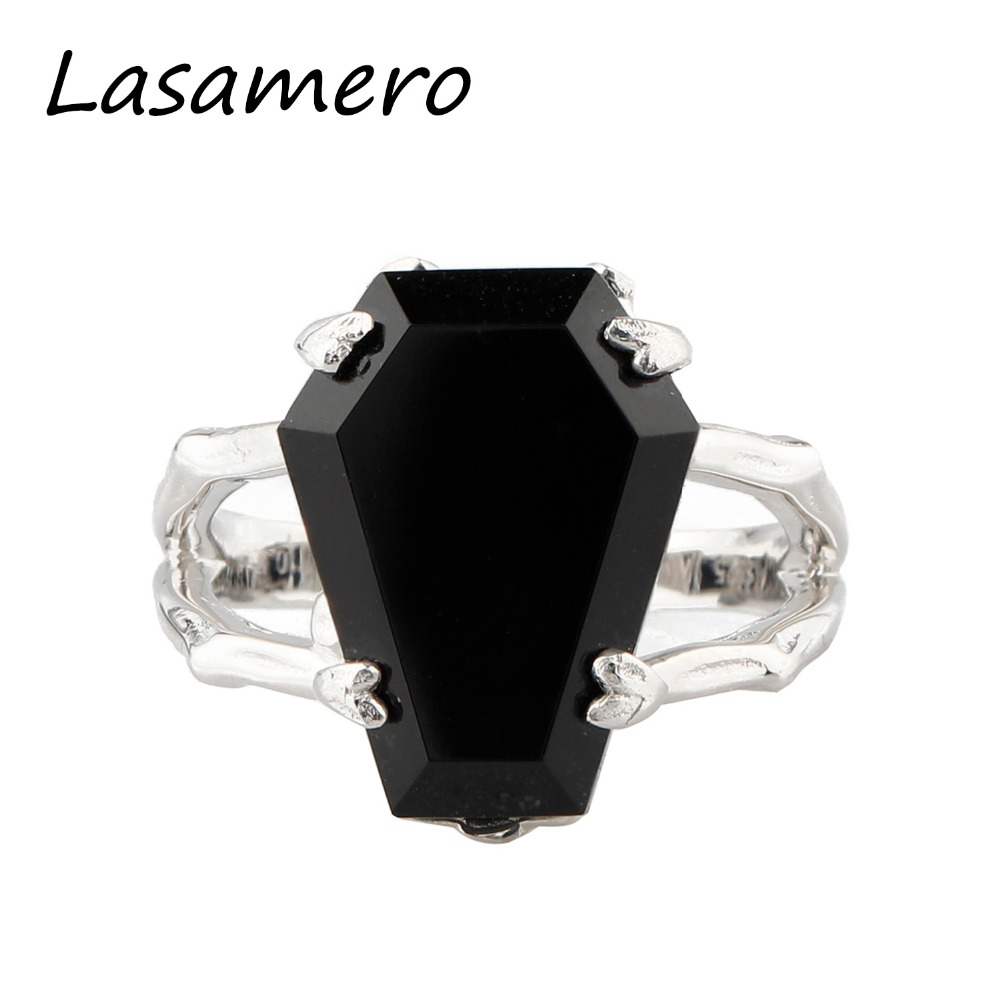 LASAMERO  Coffin Shape Natural Onyx Black Agate Gemstone 925 Sterling Silver Skeleton Claws Cross Finger Print   Party Ring