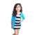 Valor Do Produto 2016 Meninas Definir a Roupa Dos Miúdos Meninas Vestido Listrado + Azul de Manga longa Tops Brasão 2 Pcs Crianças Outfits Crianças conjunto