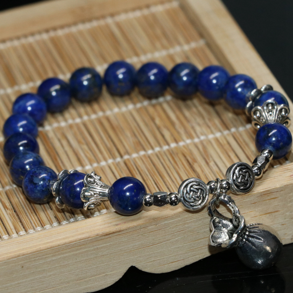 "Real 8 mm Naturel Lapis Lazuli Bracelet 7.5/"""