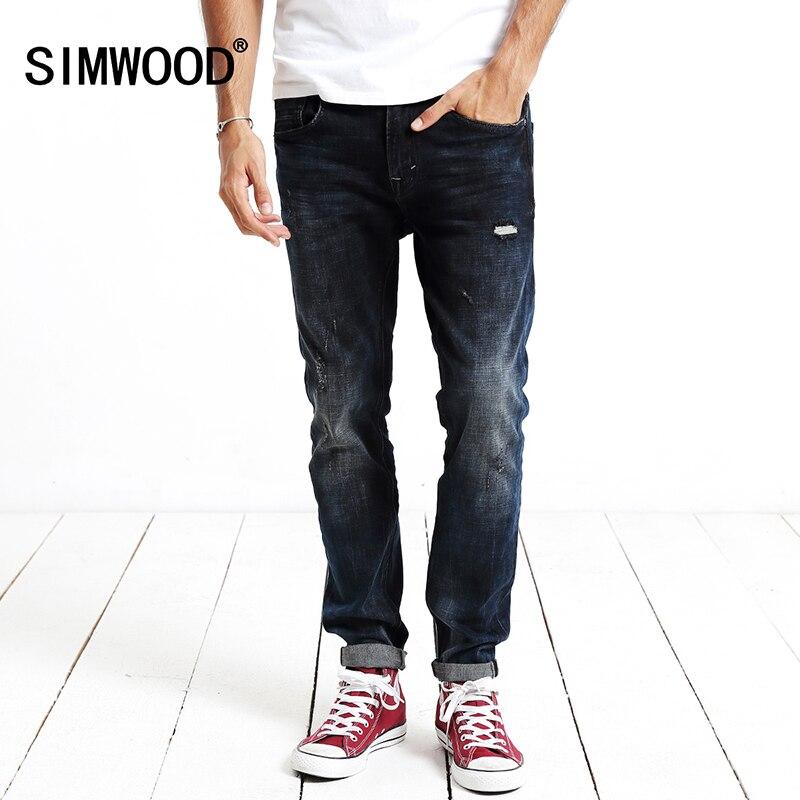 Simwoood 2017 jeans men  Leisure Fashion High Quality Slimming Long Pant Men Denim trousers Brand Clothing  SJ6045 men s cowboy jeans fashion blue jeans pant men plus sizes regular slim fit denim jean pants male high quality brand jeans