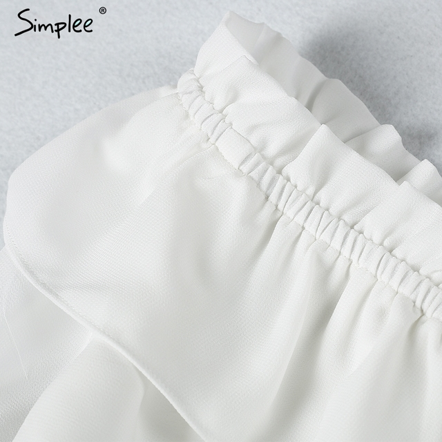 Simplee Ruffled strap chiffon blouse shirt Women crop tops off shouder white blouse hollow out blusas summer 2017 chemise femme
