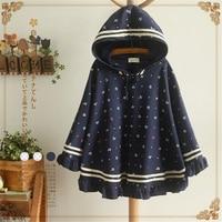 Spring Autumn Kawaii Women Anchor Print Shaped Hooded Hats Polka Dot Loose Cloak Half Sleeve Jacket