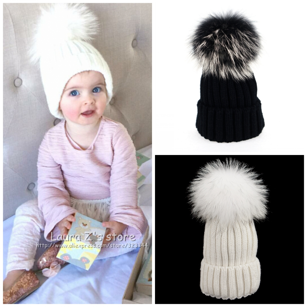 LAURASHOW Winter Kids Hats Beanies Caps Knit Hat Baby Girls Boys Raccoon Mink Fur Pom Poms Wool laurashow winter kids hats beanies caps knit hat baby girls boys raccoon mink fur pom poms wool