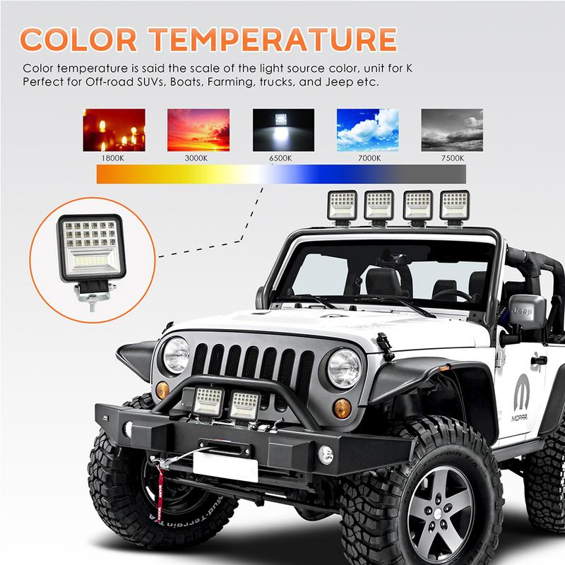 Astonishing Us 14 55 45 Off Led Work Strip Light Poly Floodlight Car Off Road Vehicle Headlights 126W Six Rows Four Inches Square Single Outdoor Adventure In Home Remodeling Inspirations Basidirectenergyitoicom