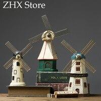 Retro Home Decoration Accessories Wine Cabinet Dutch Windmill Model Figurine Living Room Window Shop Cafe American Decorations