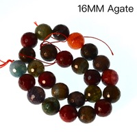 Fancy 16mm Faceted Round Multicolor Dragon Vein Agates Beads