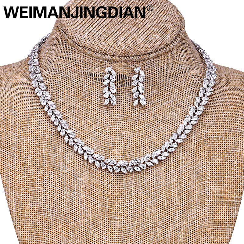 WEIMANJINGDIAN Brand Marquise Cut Cubic Zirconia Leaf Design Tennis Necklace and Earring Wedding Bridal Jewelry SetWEIMANJINGDIAN Brand Marquise Cut Cubic Zirconia Leaf Design Tennis Necklace and Earring Wedding Bridal Jewelry Set