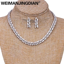 High Quality Countless Marquise Cubic Zirconia Encrusted Leaf Design Necklace and Earring Wedding Bridal Jewelry Set sinzry luxury jewelry aaa cubic zirconia brilliant waterdrop wedding chokers necklace earring set bridal jewelry set for women