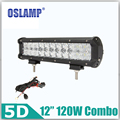 Oslamp 5D Lens 120W 12inch LED Light Bar OffRoad Driving Work Light Combo Beam LED Bar for JEEP Pickup Boat ATV SUV Car RZR UTV