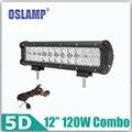 Oslamp 5D Lente 120 W 12 pulgadas LED Light Bar Conducción Campo A Través de Luz de Trabajo Haz Combo LED Bar para Camioneta JEEP Barco ATV SUV Coche RZR UTV