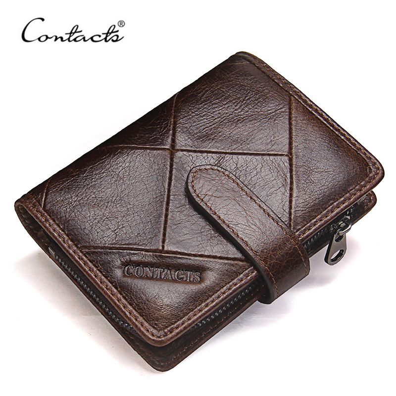 CONTACT'S Fashion Genuine Leather Men Clutch Wallet Hasp Male Short Wallets Man With Coin Pocket Women Walet Long Purse Female fashion genuine oil wax leather long women wallets female luxury brand coin purse lady clutch double zipper pocket magic walet