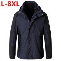 Плюс размер Брендовые куртки Для мужчин Повседневное военные Курточка бомбер Для мужчин модные простые морозостойких бурелом 2 шт. в 1 компл
