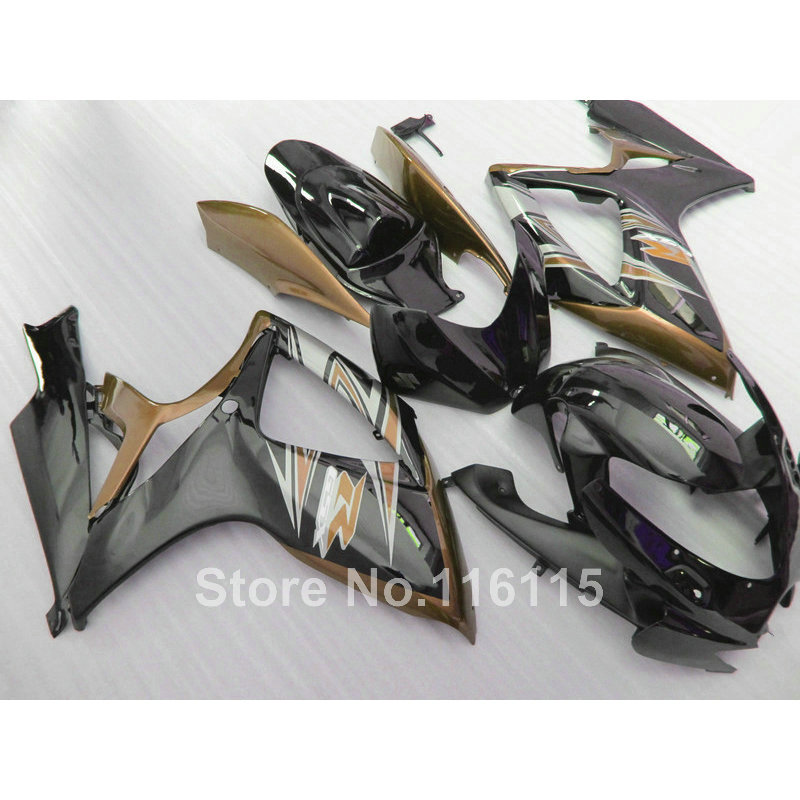 Injection mold fairing kit for SUZUKI GSXR 600 750 K6 K7 2006 2007  GSXR600 GSXR750 06 07 brown black fairings set A41 new hot moto parts fairing kit for honda cbr1000rr 06 07 green injection mold fairings set cbr1000rr 2006 2007 ra17
