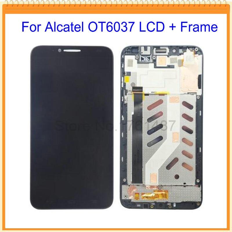 imágenes para 100% nuevo para alcatel ot6037 6037 pantalla lcd con pantalla táctil digitalizador asamblea + frame envío libre