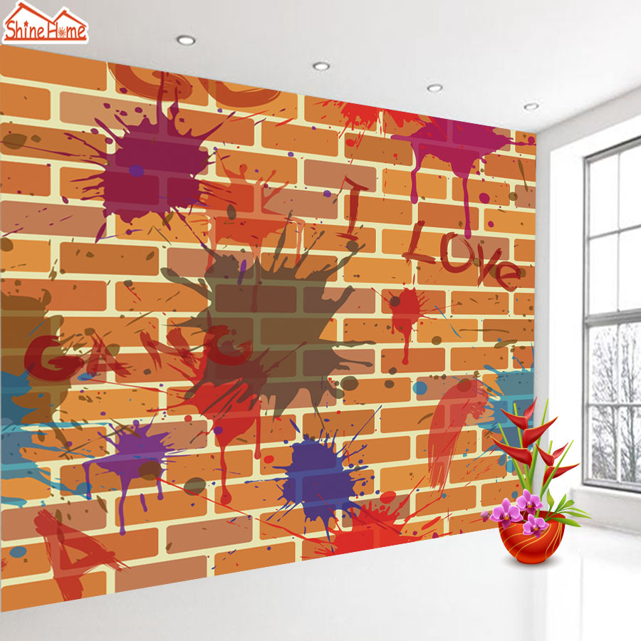 ShineHome-Graffiti Embossed Brick Wallpaper Roll for Walls 3d Cafe Mural Wallpapers for 3 d Wall Living Room Mural Wall Paper shinehome red van gogh almond blossom painting wallpaper rolls for 3d walls wallpapers for 3 d living rooms wall paper murals