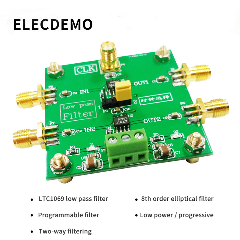 LTC1069 Module 8th order low pass filter Progressive Ellipse filter 2 Way Output  External clock Control Module demo board-in Demo Board Accessories from Computer & Office
