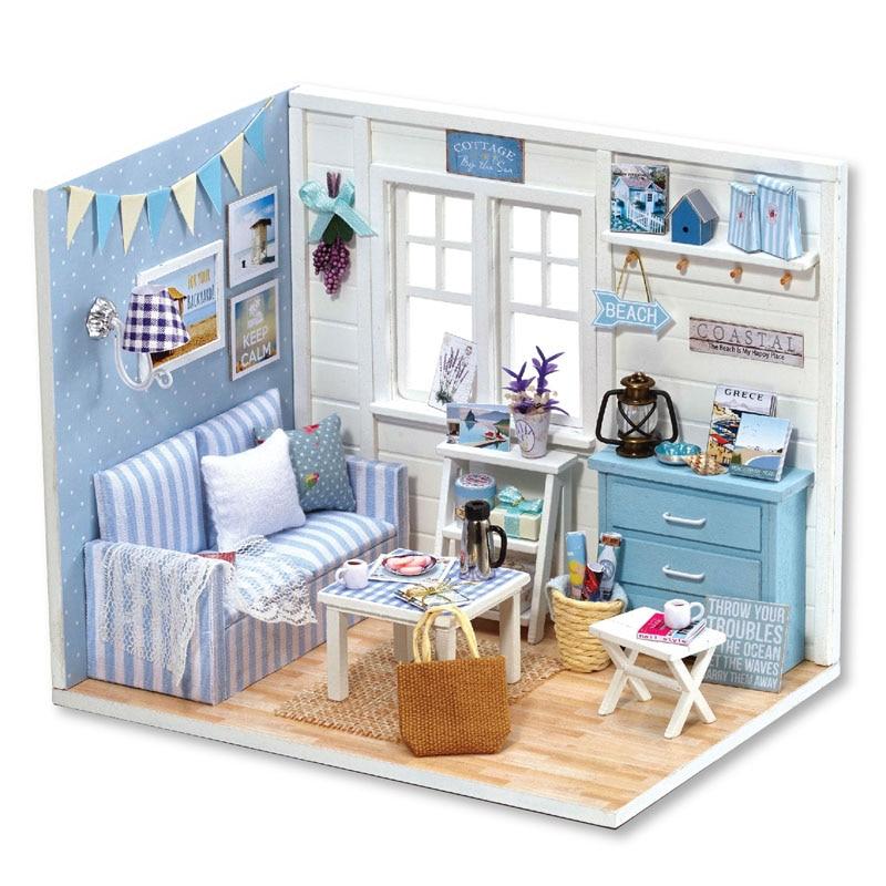 bricolage maison de poupe miniature de meubles poussire couverture 3d en bois miniaturas dollhouse avec led cadeau puzzle jouets h016 e