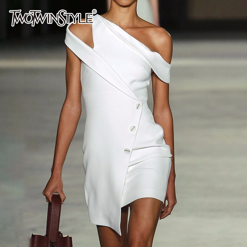 Twotwinstyle Off Shoulder Dress Women Patchwork White -5362