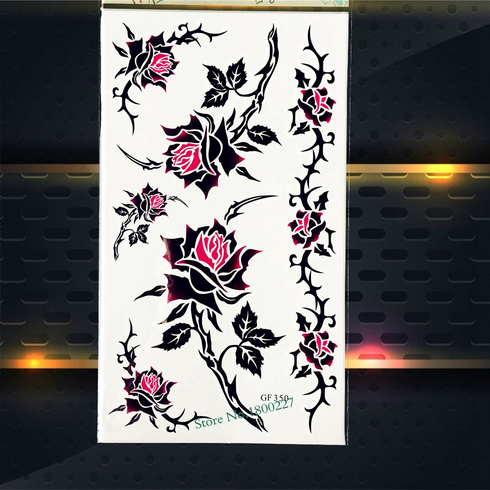 DIY Sexy Roses Temporary Removable Tattoo Stickers Women Body Art Summer Style Tattoo PGF350 Fake Flash Tattoo Blossom Branch