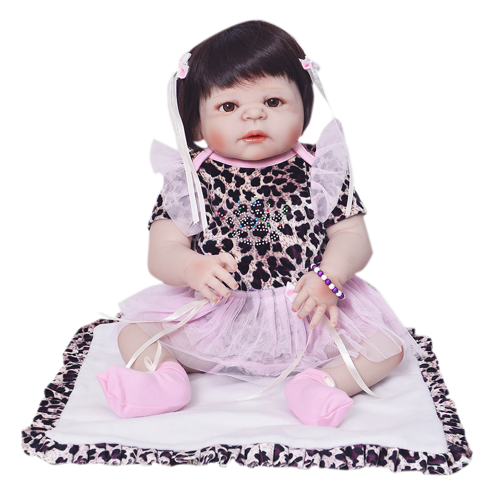 Fashion 23'' 57cm Dolls Toy For Girls Safe Full Silicone Vinyl Reborn Baby Doll with Free Leopard Dress Real Like Newborn Baby футболка toy machine leopard brown