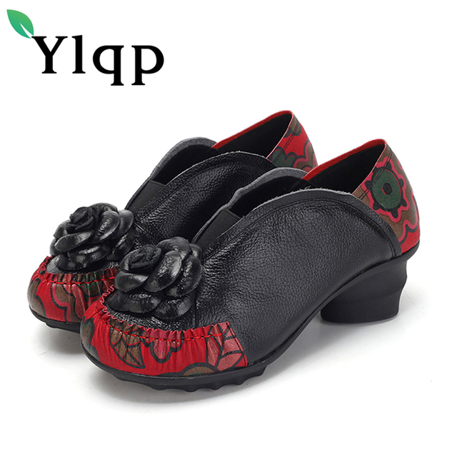 7ac54ecd90ad Ylqp 2018 Spring Genuine Leather Women Shoes Female Vintage Flower Mid  Heels Pumps Ladies Cowhide Leather Casual Shoes Zapatos