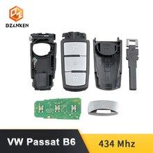 Clé de voiture Dzanken 3 Botons Remoto pour VW Passat B6 3C B7 Magotan CC et puce transpondeur et lame non coupée