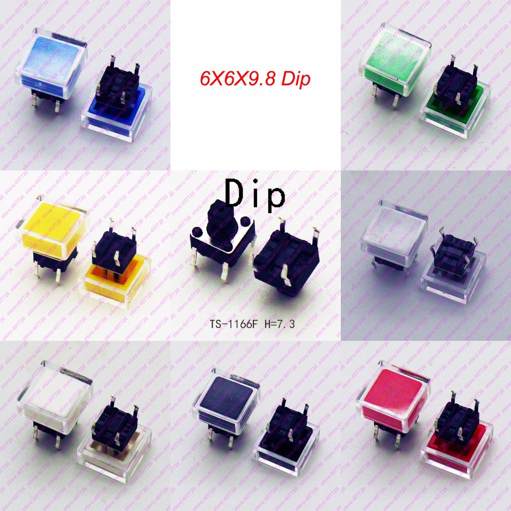 1000PCS 6*6*7.3mm (H=9.8MM With 2Caps) 4PIN (DIP) Square Top Button Tactile Button Tact Button Momentary Mini Key button switch
