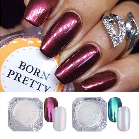 2 Boxes/set Mirror Nail Glitter Powder Blue Purple Color Chrome Pigment Dust Manicure DIY Nail Art Decorations for UV Gel Polish Lahore