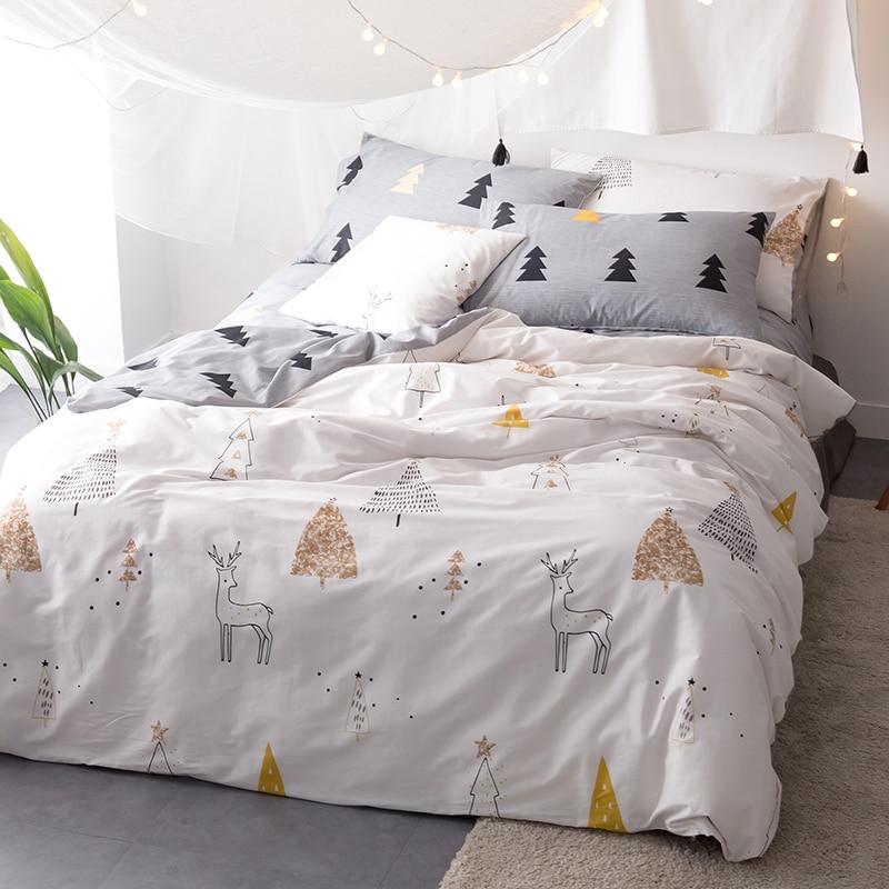 christmas trees deer 34pcs twin queen king size bedding soft cotton linens duvet cover set cartoon style bedding sets