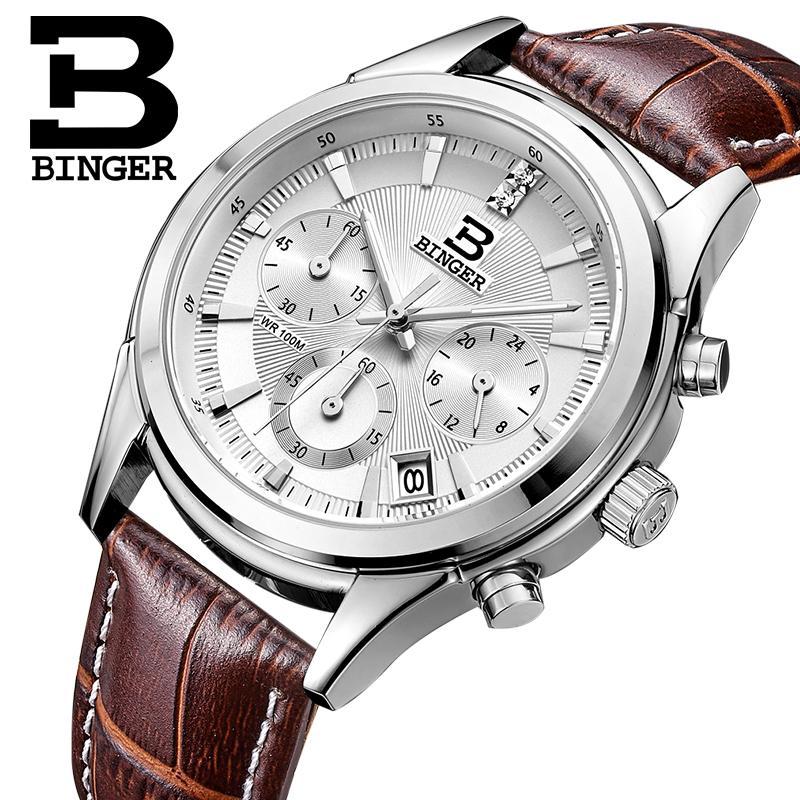 Prix pour Suisse BINGER hommes montre de luxe de marque Quartz étanche véritable bracelet en cuir auto Date Chronographe horloge BG6019-M