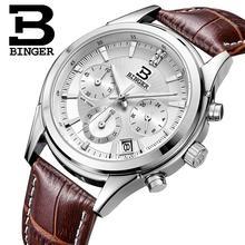 Switzerland BINGER Mens Watch Luxury Brand Quartz waterproof Genuine Leather Strap auto Date Chronograph Male Clock BG6019 M