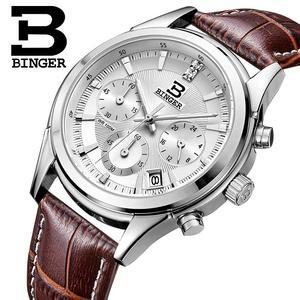 Image 1 - Switzerland BINGER Mens Watch Luxury Brand Quartz waterproof Genuine Leather Strap auto Date Chronograph Male Clock BG6019 M