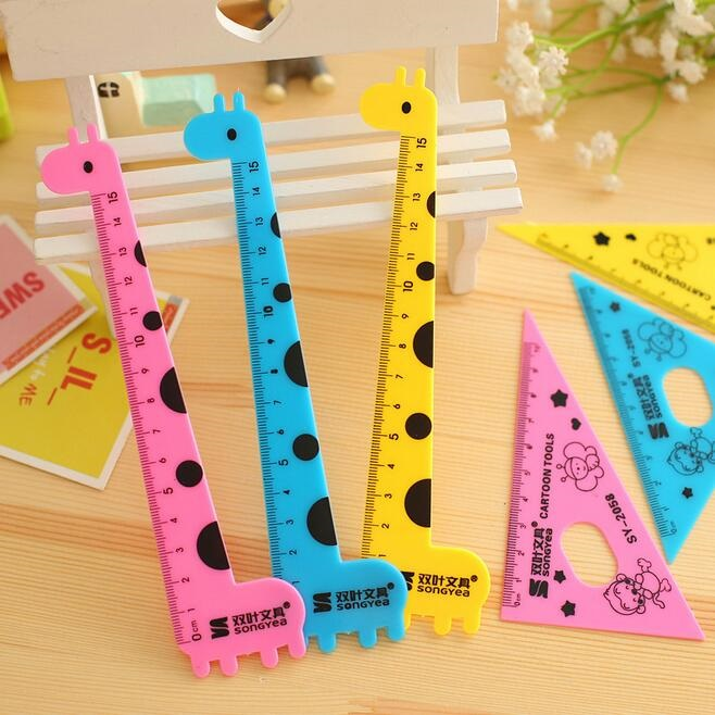 1pack/lot Cute Cartoon Giraffe Design Plastic Straight Ruler+Protractor+setsquare Set 15cm Zakka DIY Tools Stationery