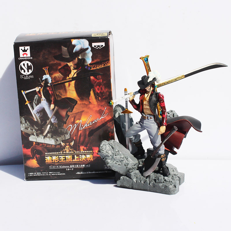 Scultures Big One Piece Figure Toy Dracule Mihawk Model Doll With Sword Anime Brinquedos for Children(China)